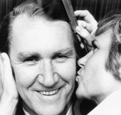 Image of Malcolm Fraser and a supporter prior to his election victory speech.