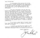 Sir John Kerr's letter to Prime Minister Gough Whitlam, terminating his commission. Courtesy of Gough Whitlam.