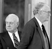 Image of Gough Whitlam and Malcolm Fraser at the funeral in 1999 of the former Member for Bass and member of the Fraser Cabinet, the Hon Kevin Newman.