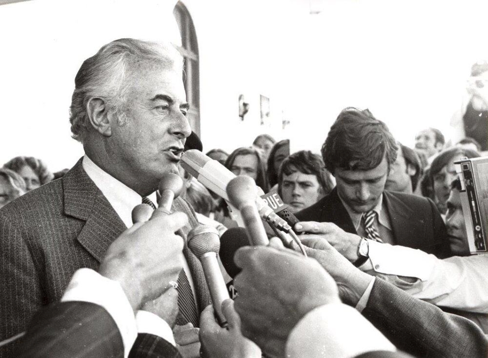 Gough Whitlam speaking to media image